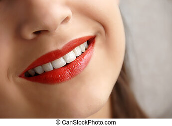 Young girl smile - young girl beautiful red lips smiling...