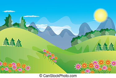 Beautiful landscape background - Green Landscape with trees...