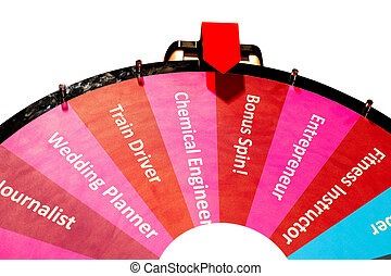 Choosing your career - Spinning wheel isolated on white with...