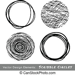 Set of Hand Drawn Scribble Circles, vector design elements