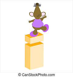 Mouse and Letter - Happy Mouse with lower case letter i