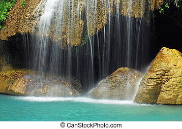 Waterfall with blue stream in the nature Thailand forest