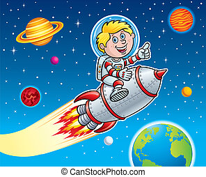 Rocket Kid Blasting Thru Space - Cartoon illustration of a...
