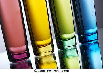Multi-colored shot glasses - Four multi-colored shot glasses...