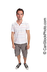 Full length image of a handsome male isolated over white...