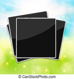 Blank photo frames for your summer photos. Blurred background. V