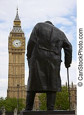 Statue of Winston Churchill in Parliament Square in London,...
