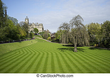 Edinburgh - Neatly cut lawn of Princes Street Gardens in...
