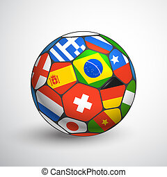 Football ball with different flags