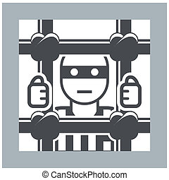 Prisoner behind bars - criminal in jail, simple icon