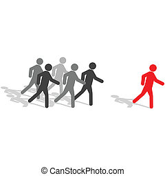 Be different, step out from the crowd - Business Concept -...