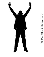 Silhouette of a Man with Arms Outst - Silhouette of a man in...