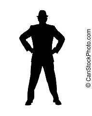 Silhouette of a Man With Hands on H