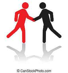 greeting each other,or, shaking hands on a deal - Business...