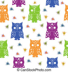 Colourful owl and stars seamless pattern with lace...