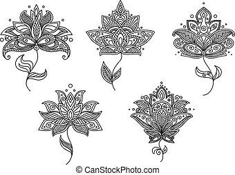 pretas, branca, floral, arabescos, persa, estilo