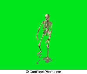 strange skeleton dancing - dancing skeleton on green...