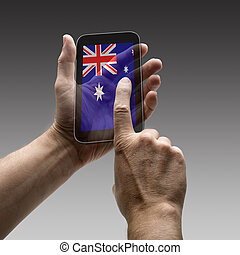 Holding Australia flag screen smart phone. There is a route...