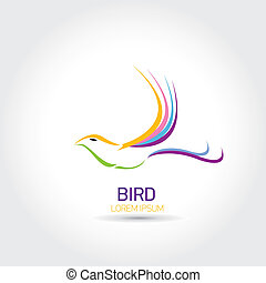 Color Bird abstract flying icon design template. freedom and...