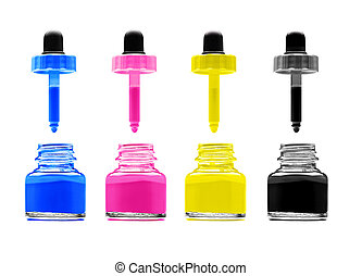 CMYK - Magenta, cyan, yellow and black on white background