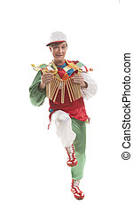 Clown with clapper - Clown in a cap with treshchotka...