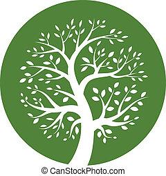 Green tree round icon