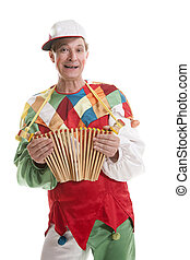 Clown with clapper - Clown in a cap with treshchotka clapper...