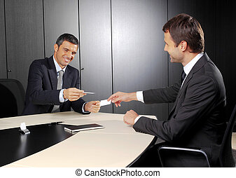 people changing business cards