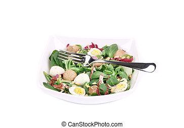 Mushroom salad with corn salad.