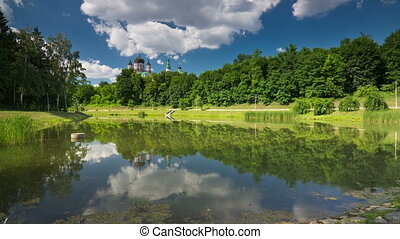 Park - St Panteleimon orthodox church in Feofaniya Ukraine,...