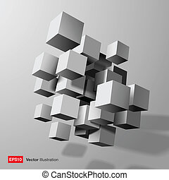 Abstract composition of white 3d cubes.  Vector illustration