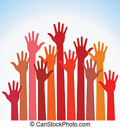 warm colorful up hands, vector illustration