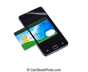Smartphone and bank card. Isolated on a white background.