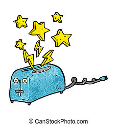cartoon sparking toaster