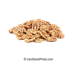 Heap of walnut kernels. Isolated on a white background.