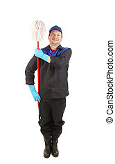 Laughing cleaner with mop. Isolated on a white background.