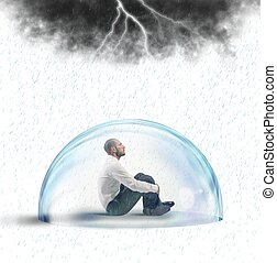 Businessman protected from the crisis with a crystal ball