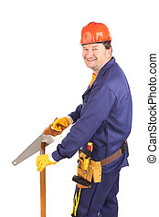 Male worker with hand saw.