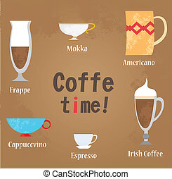 Coffe cups vector illustration Vintage background