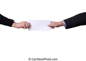 add - business men hands with a black card