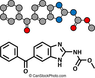 Mebendazole anthelmintic drug, chemical structure. Used to...