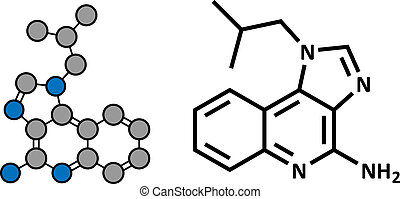 Imiquimod topical skin cancer drug, chemical structure.