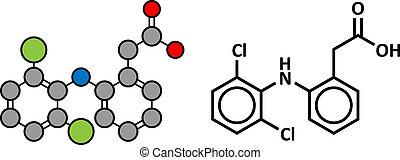 estructura, (nsaid), dolor, droga, químico, diclofenac,...