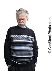 Serious elderly man
