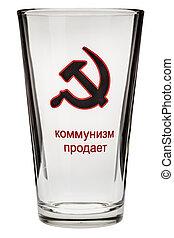 Communist glass - a backlit big glass with soviet emblem on...