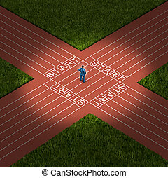 Career Decision - Career decision business strategy concept...