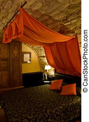 Bed with Canopy in a Bedroom. European Castle