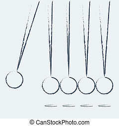 Newton's Cradle isolated on white - Balancing balls Newton's...