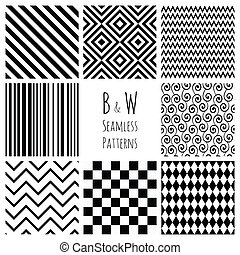 Seamless Black and White geometric background set - Set of 8...