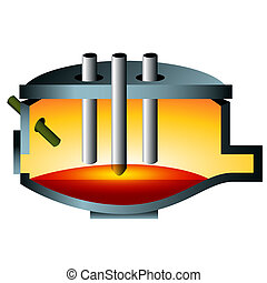 3d Arc Furnace Steel Icon - A 3d image of an arc furnace...